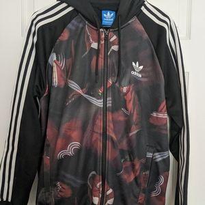 Adidas Originals Zipped Hoodie Black / White / Red